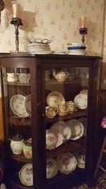 Antique oak & curved glass china cabinet, circa 1900