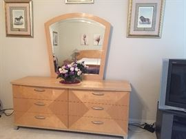 Dresser and mirror, part of 8 piece bedroom furniture made in Italy