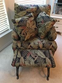 Jungle theme side chair with footrest and pillows
