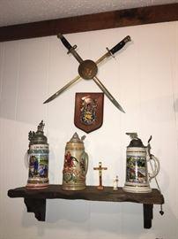 Sword Decor. Beer Steins with Lids. Family Heritage Estate Sales, LLC. New Jersey Estate Sales/ Pennsylvania Estate Sales.