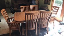 Custom Made Oak Dining Table and (6) Chairs