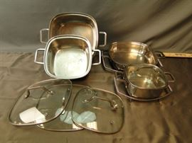 4x Square Pan Stainless Steel Pots and etc.
