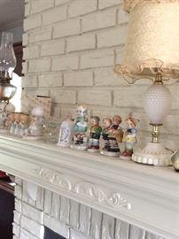 Milk glass lamps,  precious moments