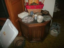 Some pottery and end table