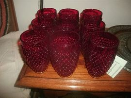 Red Hobnail Tumblers