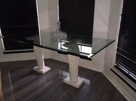 Matching glass Table to the dining room set- IN Storage off premises