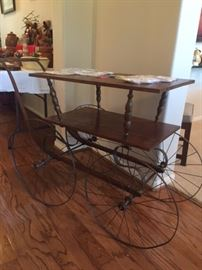 Antique Table made from a Doll Carriage 35% off owners request $80 now $52.50