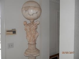 "Solid marble ""3 maiden"" sculpture' lamp...approximately 40 inches high....sitting on white marble column..."