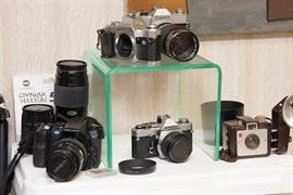 Vintage cameras, tripods and accessories