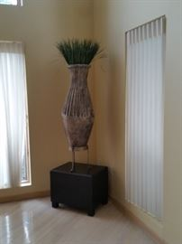 6' Ceramic Pot, Stand and Grass
