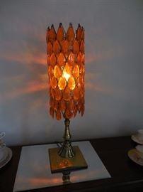 Mid Century Orange Prism Table Lamp