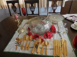 Gold Plated Flatware, 12 Piece Place Setting, Plus Service, No Chest