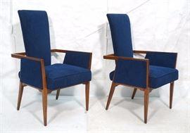 Lot 4 Pr Tall Back Blue Fabric Modernist Lounge Chairs.