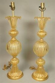 Lot 5 Pr BAROVIER Et TOSO Murano Art Glass Lamp. Multip