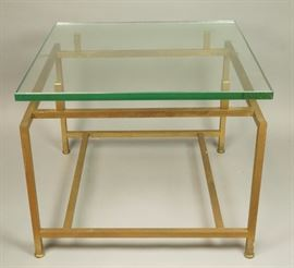 Lot 9 PAUL MCCOBB Style Square Brass Tube Side Table. .