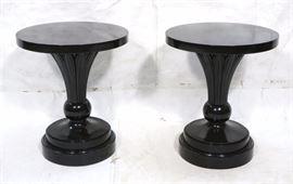 Lot 10 Pr Ebonized Round Decorator Side Tables. Round pe