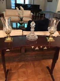 Candle holders and wine decanter are Waterford