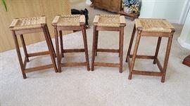 4 Rattan seated bar stools