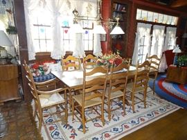 Trestle Table, with 2 leaves, 2 Arm Chairs, and 6 Side Chairs...