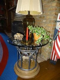 Carousel Glass Top End Table
