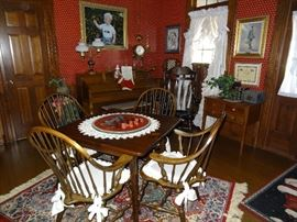One of the Several Habersham Plantation Pieces: Solid wood table, with drawer, and four comfortable chairs.