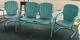 !930's set of patio metal chairs and glider