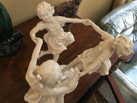 "Antique Hutschenreuther German porcelain statue ""3 girls dancing"""