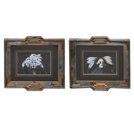 Pair of Limited Edition Pieces by Robin Ingle: A pair of framed limited edition pieces by Robin Ingle. These pieces are titled Defiant Times834/2250 and Dances in the Night 1456/2250. Both pieces are signed by the artist to the lower right and to the verso. Each has an affidavit of limited edition to the verso. They are framed in a rustic barn board frame with is accented with cut out geometric shapes. Both have glass inserts.