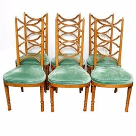 "Hollywood Regency Style ""Pavane"" Chairs by Tomlinson of High Point, Inc.: A collection of six Hollywood Regency style Pavane dining chairs by Tomlinson of High Point, Inc. Each mid-century chair features a pair of block stiles with ball finial top, flanking three curved X-rungs on a tall ladder back. The chairs include a sea green velour cushioned seat with rounded front and they rise up on turned, fluted legs ending in graduated cylindrical feet. There is a tag attached to the underside reading, ""Tomlinson of High Point, Inc."" For the coordinating table, please see item 17NAS110-004."