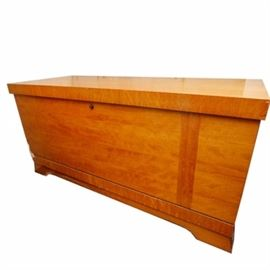 "Vintage Lane Chest: A wood stained cedar chest by Lane, Altavista, Virginia. The cedar lined chest is constructed with Lane's ""aroma-tite"" construction. It is finished with wood veneers and a gloss stain, hinged lid, and a shelving unit inside with a covered compartment located in the center. Marked ""Lane."""