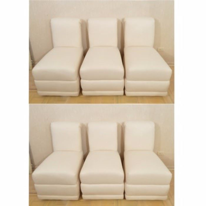 High Back Dining Chairs A Collection Of Six High Back Dining Chairs Each Chair Has A Fully Upholstered Body With Rolled Crest And Full A
