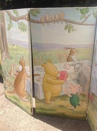 Winnie the Pooh six panel floor screen, handpainted oil on canvas