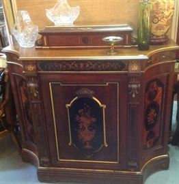 Possibly Herter fine 19thc Renaissance Reivival credenza with marquetry inlay