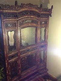 19thc Chinese inlaid carved cabinet