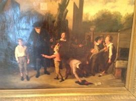 """Attributed to William Mulready (1786-1863 British) genre scene, boys and their teacher at recess, oil on canvas, signed Mulready lower left, 28""""x36"""", framed 38""""x45"""""""
