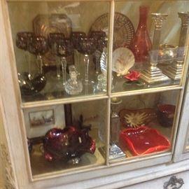 Crystal, Murano glass, Silverplate candlesticks