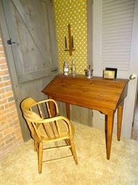 Pine lift-top desk & captain's chair.