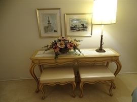 Weiman sofa table (marble insert) with two benches. Lamp is a Stiffel.