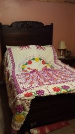 Vintage Chenille Bedspread-Double Peacock