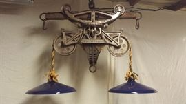 Hay Trolley Light with unique vintage BLUE porcelain shades.