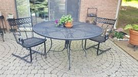 "Black wrought iron table  48"" with two rocker chairs $125"
