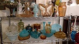 carnival glass, blue and amber glass