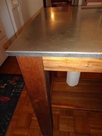 stainless steel top wood table