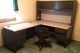 L-shaped metal desk unit
