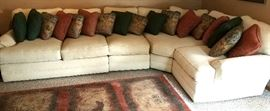 Very nice four piece sectional & many throw pillows