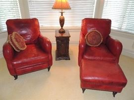 SOFT LEATHER QUALITY LAZY-BOY CHAIRS. BEAUTIFUL ALL AROUND CONDITION. . ON BRASS CASTORS.