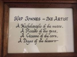 Hap Townes Memorabilia -there will be more items from the restaurant, pictures to follow.