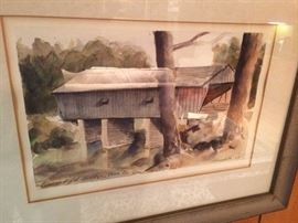 Robert Meredith watercolor Covered Bridge 8x12