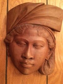 Carved wood African female