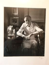 Black and white framed photographic print by Greg Kinney of famed restaurateur Hap Townes who passed away in 2012 at the age of 89.